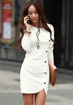 White Plain Button Decorated Sheath Slim Fit Side Round Neck Long Sleeve Trendy Mini Dress