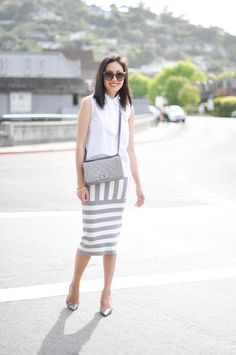 striped pencil skirt with white top