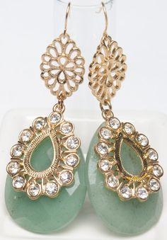 """Emerald Dreams - Fabulous pear-shaped green polished agate and crystal drop earrings are filled with high-impact star power! 2 3/4"""" long French Wire Closure $129 www.lvcr8.com facebook/lvcr8 flashsale #agatejewel"""