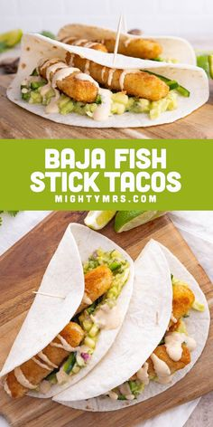 Baja Fish Stick Tacos - An easy and delicious dinner idea using fish sticks, slaw, avocado, corn, poblano pepper, red onion and a creamy taco sauce. Super simple and tastes amazing! Made easy using frozen fish stick and coleslaw. These southern California - Mexican fish stick tacos are freshing thanks to a squeeze of lemon and lime. Must try easy weeknight dinner idea! Entree Recipes, Spicy Recipes, Fish Recipes, Seafood Recipes, Mexican Food Recipes, Cooking Recipes, Dinner Recipes Easy Quick, Healthy Dinner Recipes, Easy Dinners