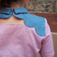 Blue scalloped woven yoke + collar over plain blouse - noel-couture