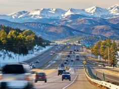 Welcome to the Rockies. From Golden, Colorado when you get the first glimpse of the entire mountain range spread out in front of you :)
