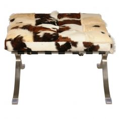 Barca Cowhide Ottoman Brushed Stainless Steel Frame, Brown/White/Black