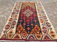 Gorgeous Turkish kilim rug 91'' x 51'' area rug red by PocoVintage