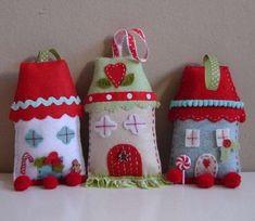 Lavoretti di Natale in pannolenci - Lavoretti di Natale in pannolenci, le casette