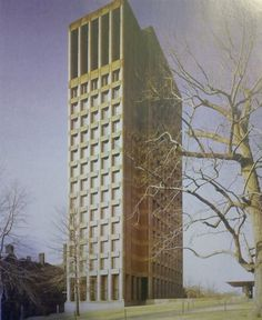 Philip Johnson i Richard Foster, wieża laboratoriów Uniwersytetu Yale, New Haven, Connecticut, 1964-1966