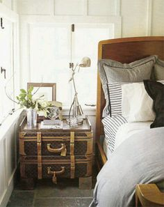 vintagesuitcasenightstandHouseBeautiful by MrsLimestone, Love this Idea