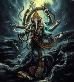 Worshipping Lord Ganesha if you have Ketu in house can overcome professional instability & problems. Read results & remedies for Ketu in house. Shiva Tandav, Rudra Shiva, Shiva Art, Hindu Art, Lord Hanuman Wallpapers, Lord Shiva Hd Wallpaper, Wallpaper Art, Lord Ganesha Paintings, Lord Shiva Painting