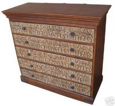 TRIBAL CARVED WOODEN CHEST OF DRAWER IN ANTIQUE LOOK