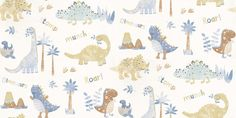Tiny Tots (G45127) - Galerie Wallpapers - A fun and colourful all over wallpaper design featuring stylized dinosaurs. Shown here in pastel shades of blue, white and browns. Other colourways are available. Please request a sample for a true colour match.