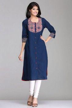 Brilliant Blue Straight Khadi Cotton Kurta With Maroon Ajrakh Patch & Front Buttons By Farida Gupta Pakistani Dresses, Indian Dresses, Indian Outfits, Kurtha Designs, Blouse Designs, Dress Designs, Kurta Patterns, Dress Patterns, Lovely Dresses