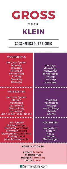 Deutsch - Duits - Tageszeiten - dagdelen - Wörter - woordenschat