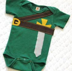 For the little soon-to-be gamers out there, perfect for baby showers, Halloween or every day use. Inspired by Link from the Legend of Zelda