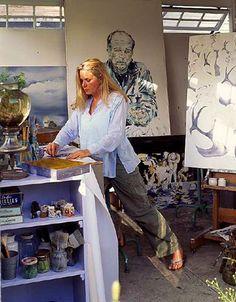 Lynn Hanson at work in her art studio