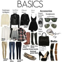 Wardrobe basics. Dorm closets are pretty small, so this helps save time, frustration, and space! I probably would add in more cowboy boots and sun dresses.