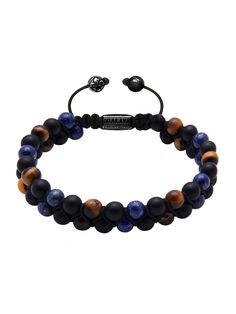 Easy Return & Exchange Service      6mm Brown Tiger Eye, Matte Onyx and Blue Lapis  Lock in 925 Solid Silver with Black RhodiumPlating Product Code:MDBL6ST_010  Our classic beaded bracelet is crafted by hand from a strong 100% nylon string and finished with a 925 sterling silver drawstring lock. The bracelet opens by pulling the beads closest to the lock in opposite directions and closes by pulling the small, dangling silver beads in opposite directions.   Designer's Notes:  A modern ...