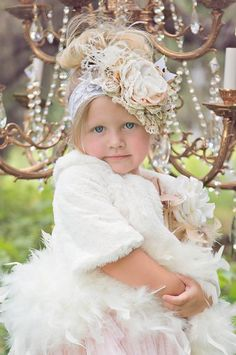 Winter Ballet Couture Headband and Shabby Chic Feather Coat Perfect for Holiday Portraits at Cassie's Closet. www.cassiesclosetinc.com
