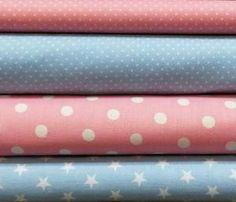 Stoffpaket Baumwolle rosa-hellblau,