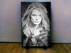 "Sebastian Bach Skid Row Sketch Art Portrait on Slate 8x6"" rare memorabilia"