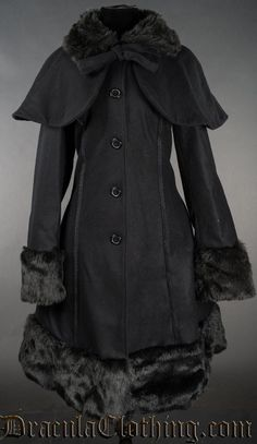 Thick Winter Wool Coat Black Satin Lining