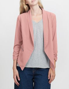cdb004a440b7 LE3NO Womens Open Front Ruched 3 4 Sleeve Blazer Jacket