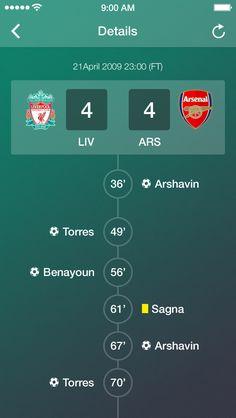 Football match score updates #football #ui #app