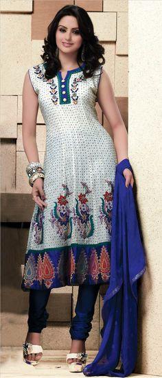 White Readymade Chanderi Churidar Kameez @ $109.63 | Shop @ http://www.utsavfashion.com/store/sarees-large.aspx?icode=kbp566