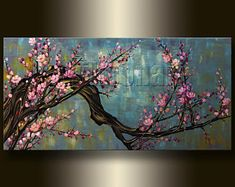 Oil Painting Asian Blossoms Original Asian Zen Art Modern Flower Canvas HUGE by Willson Lau - Oil Painting Asian Blossoms Original Asian Zen Art Modern Flower Canvas by Willson Lau - Flower Canvas, Flower Art, Cherry Blossom Painting, Peacock Painting, China Painting, Zen Art, Acrylic Art, Modern Art, Modern Asian