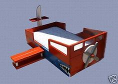 Wooden Airplane Toddler Bed II with Wings, Windows & Propeller! this would be awesome for Wyatt!