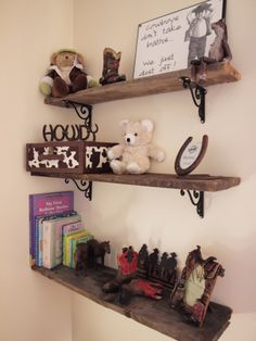 cowboy nursery shelving. Would be cute if we have a little boy someday