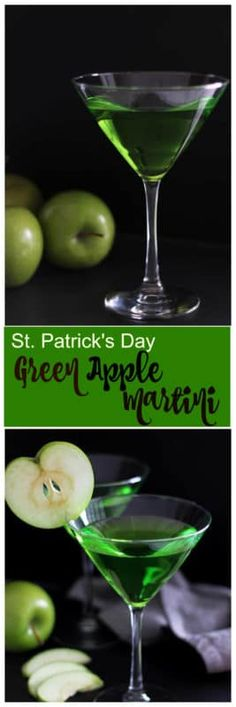St. Patrick's Day is around the corner and this elegant and deliciously smooth drink has the crispness and juicy flavors of a granny smith apple you are looking for! A Green Apple Martini is the perfect drink to sip on while enjoying time with friends or when celebrating St. Patrick's Day! Hey...it's green! Let's celebrate! #StPatricksDay #drink #beverage #cocktail #martini #alchol #apple | recipesworthrepeating.com