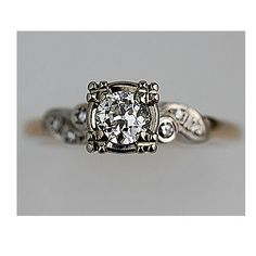 Gold+diamond combo that I TRULY love. Antique 14 Kt Two Tone Engagement Ring Circa Early 1900's