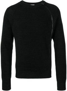 Lanvin Side Zip Sweater In Black Cheap Mens Fashion, Mens Fashion Sweaters, Black Side, Zip Sweater, French Fashion, Lanvin, Black Sweaters, Women Wear, Crew Neck