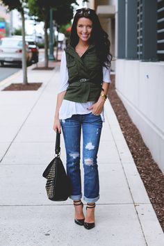 Shoes: ASOS, Jeans: Abercrombie, Tee: c/o Lulu's, Vest: Urban Outfitters, Belt: JCrew, Watch: Urban Outfitters, Bag: NastyGal, Necklace: c/o Oxford Trunk
