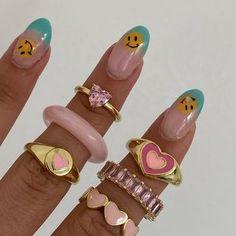Nail Jewelry, Funky Jewelry, Stylish Jewelry, Stylish Nails, Cute Jewelry, Jewelery, Jewelry Accessories, Cute Rings, Pretty Rings