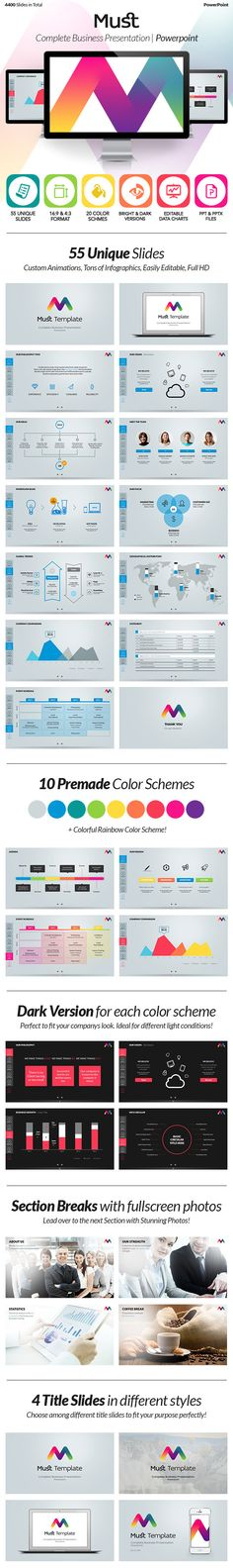 As the name says, this is a MUST-have Presentation for all creative, business, corporate and Industry users! With 55 unique custom slides, MUST offers a unique world of presenting. Everything you need is covered in this template, that was built profession…