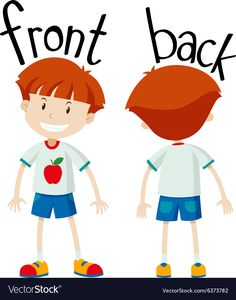 Little boy front and back Royalty Free Vector Image Learning English For Kids, English Lessons For Kids, English Language Learning, Teaching English, Preschool Education, Preschool Learning Activities, Preschool Lessons, Teaching Kids, Opposites For Kids