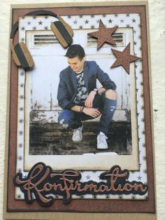 Konfirmationskort Confirmation Cards, Marianne Design, Masculine Cards, Scrapbook Pages, Cardmaking, Birthday Cards, Paper Crafts, Cool Stuff, Boys