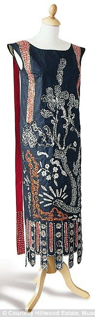 1924 Lanvin Dress in spirit of Chinese prints and lacquers with diamanté and bead embroidery effect in paint: made entirely of paper
