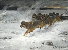 A pack of wolves by Alfred Wierusz-Kowalski (1848-1915)