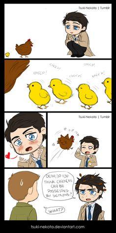 Be careful with chickens by Tsuki-Nekota.deviantart.com on @deviantART, lol, Dean's sweatdrop
