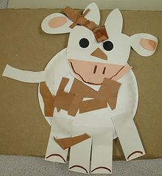 Cow with scissor skills, other farm animal themed crafts on the post too.