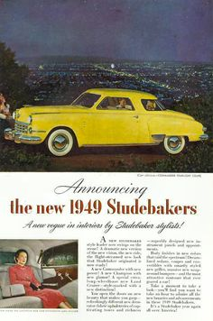 Hmmm ... what is that couple doing in the back seat?  ha ha.  Studebaker car ad.