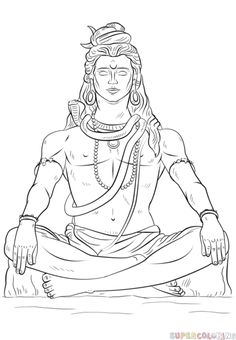 How to draw Lord Shiva step by step. Drawing tutorials for kids and beginners.