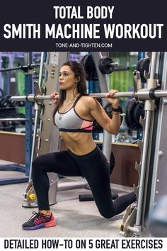 How to use a Smith machine with a great total body Smith Machine workout. Beginner instruction on five of my favorite exercises to do on a Smith machine. Workout Routines For Beginners, Workouts For Teens, Easy Workouts, Beginner Workouts, Exercise Routines, Interval Workouts, Beginner Pilates, Pilates Video, Exercise Ball