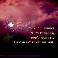 Your soul knows what it needs, don't fight it, it has great plans for you.