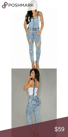 💛 [Large: 1Left] Slim Fit Rugged Suspenders Material is 95% poly 5% spandex. Distressed design with a fitted look. Color is a stone wash. Adjustable straps, front & side pockets and side buttons.  Fitted to shape. Breaux-Mode Pants Jumpsuits & Rompers