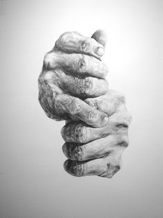 Ben Hogan's Hands by Steve Buduo. Pen on watercolor paper. 18x32in. 2016.