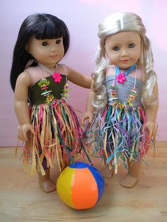 Dolls Luau Outfit Tutorial-- A kid could make this easily. The only sewing needed is placing a button.
