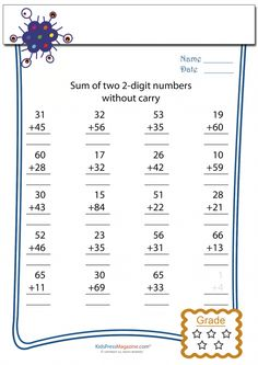 Encourage your child to enjoy practicing their basic math skills using these fun and free worksheets! #doubledigitspractice #doubledigitswithoutcarry #freemathworksheets #mathpractice #advancedaddition